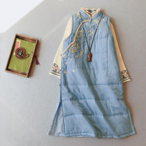 Vest Autumn 2020 Average size have more cash than can be accounted for stand collar commute Plants and flowers Single breasted 25-29 years old Other / other 51% (inclusive) - 70% (inclusive) hemp Embroidery, stitching, buttons Silk like cotton