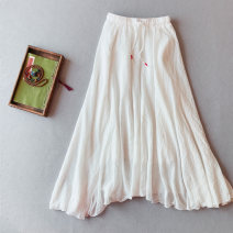 skirt Spring 2020 Average size White, black, beige, turquoise longuette commute High waist A-line skirt Solid color Type A 25-29 years old MLL45 71% (inclusive) - 80% (inclusive) Other / other hemp Lace up, strap, splice Retro