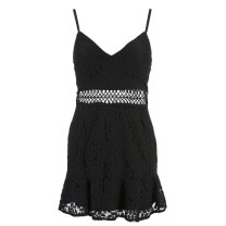 Dress Autumn of 2018 Black, white Average size Middle-skirt singleton  Sleeveless Sweet V-neck High waist Hand painted Socket Ruffle Skirt other camisole 18-24 years old Type A 81% (inclusive) - 90% (inclusive) Lace polyester fiber