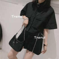 skirt Summer 2020 S,M,L Black, gray Short skirt Natural waist Type A 51% (inclusive) - 70% (inclusive) other other