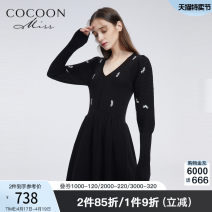 Dress Winter 2020 Black black 1 XS S M Mid length dress singleton  Long sleeves Sweet Crew neck Elastic waist Broken flowers other Big swing puff sleeve Others 25-29 years old Type A Cocoon / coconi Sequins 90400C02523 31% (inclusive) - 50% (inclusive) nylon princess Pure e-commerce (online only)