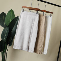 skirt Winter of 2019 Average size Off white, khaki, off grey Mid length dress Versatile High waist skirt Solid color Type A Yaneryi cupboard