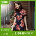 cheongsam Spring 2021 S M L XL XXL black Short sleeve long cheongsam Retro Low slit daily Round lapel Decor Over 35 years old Piping 2122S03MZ3LK E. Beauty / Beauty silk Mulberry silk 100% Pure e-commerce (online only) 96% and above