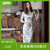 cheongsam Spring 2021 S M L XL XXL Short sleeve long cheongsam Retro Low slit daily Round lapel Solid color 25-35 years old Piping E. Beauty / Beauty silk Mulberry silk 92% polyurethane elastic fiber (spandex) 8% Pure e-commerce (online only) 91% (inclusive) - 95% (inclusive)