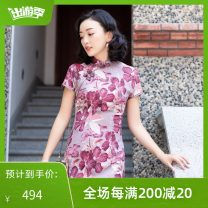 cheongsam Summer of 2019 S M L XL 2XL Rose Pink 110cm length 3.5cm collar height rose pink 120cm length 3.5cm collar height Short sleeve Qipao literature Low slit daily Round lapel Decor 25-35 years old Piping 925Q01CZ3LP E. Beauty / Beauty polyester fiber Polyester 100% Pure e-commerce (online only)