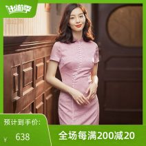 cheongsam Spring 2021 S M L XL XXL Carnation powder Short sleeve long cheongsam Retro Low slit daily Round lapel other Over 35 years old Piping 2121Q07LZ2MP E. Beauty / Beauty polyester fiber Polyester fiber 94.3% polyurethane elastic fiber (spandex) 5.7% Pure e-commerce (online only)