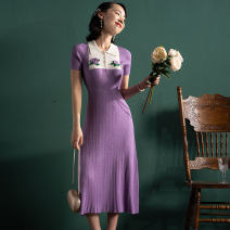 Dress Summer 2020 purple Mid length dress singleton  Short sleeve commute Polo collar High waist Solid color A-line skirt Wrap sleeves Others Type A Retro 31% (inclusive) - 50% (inclusive) knitting nylon