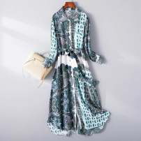Dress Spring 2021 Decor M,L,XL,2XL longuette singleton  Long sleeves commute Polo collar middle-waisted Decor Socket A-line skirt routine 25-29 years old Type A King Deer printing silk
