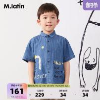 shirt Denim dark blue denim blue M. Latin / maladin male 110cm 120cm 130cm 140cm 150cm 160cm summer Short sleeve literature cotton Cotton 100% Class B Summer 2020