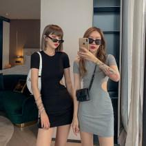 Dress Summer 2021 Black, blue, gray S, M Short skirt Short sleeve Crew neck 18-24 years old UM21214