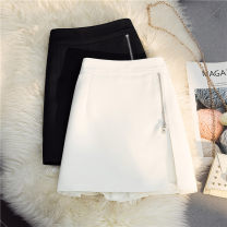 skirt Spring 2021 S,M,L,XL,2XL White, black Short skirt Versatile High waist A-line skirt Solid color Type A 18-24 years old 30% and below other other zipper 40g / m ^ 2 and below