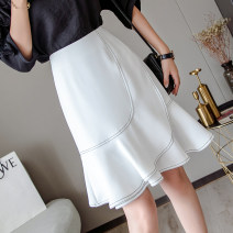 skirt Spring 2021 S,M,L,XL White, black Middle-skirt Versatile High waist Ruffle Skirt Solid color Type A 25-29 years old 30% and below other other Ruffles, asymmetric 40g / m ^ 2 and below