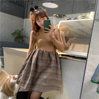 Dress Spring 2021 Average size Short skirt singleton  Sleeveless commute other High waist lattice Socket A-line skirt other camisole 18-24 years old Type A Korean version Splicing 31% (inclusive) - 50% (inclusive) cotton