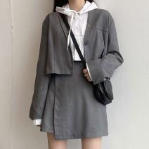 Fashion suit Spring 2021 M, L Grey suit, grey skirt, black suit, black skirt 18-25 years old 31% (inclusive) - 50% (inclusive) cotton
