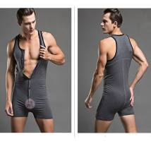 Body shaping suit Superbody Dark grey M L XL Sleeveless routine Solid color motion boxer cotton