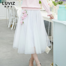 skirt Autumn of 2019 S M L XL Mid length dress dream Natural waist Fluffy skirt Solid color Type A 18-24 years old More than 95% Luviz polyester fiber Three dimensional embroidery decoration Polyester 100%