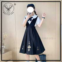 Dress Summer 2020 Little nun nursing skirt + bow tie (for socks) S,M,L,XL longuette singleton  Short sleeve Sweet other Loose waist Abstract pattern other Big swing other Others 18-24 years old Type H Other / other hjs17 81% (inclusive) - 90% (inclusive) other other solar system