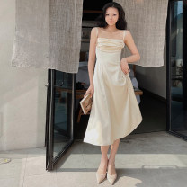 Dress Spring 2021 S,M,L longuette singleton  Sleeveless commute One word collar High waist Solid color Socket A-line skirt camisole 25-29 years old Type A Zhao Sanguan Retro 51% (inclusive) - 70% (inclusive)