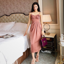 Dress Spring 2021 S,M,L Mid length dress singleton  Sleeveless commute V-neck High waist Solid color Socket One pace skirt camisole 25-29 years old Type X Zhao Sanguan Retro