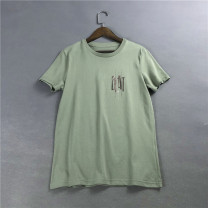 T-shirt Army green 44,55,66,77 Summer of 2019 Short sleeve Regular Sweet cotton 96% and above
