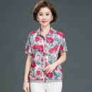 Middle aged and old women's wear Spring 2021, summer 2021 fashion shirt easy singleton  Decor 40-49 years old Cardigan thin Polo collar routine routine pocket Cotton, others 51% (inclusive) - 70% (inclusive) Single breasted Short sleeve