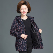 Middle aged and old women's wear Spring 2020, winter 2020, autumn 2020, spring 2021, autumn 2021 Navy blue, jujube red, coffee dot, red dot fashion Jacket / jacket easy singleton  Decor 40-49 years old Cardigan moderate Hood Medium length (length 50-70cm) routine pocket Cotton, cotton, other