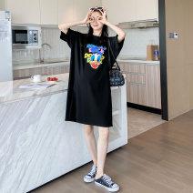 Dress Other / other Black, white Average size Korean version Short sleeve Medium length summer Crew neck Cartoon animation cotton