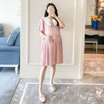 Dress Other / other Pink, black M,L,XL,XXL Korean version Short sleeve Medium length summer Lapel Solid color Chiffon