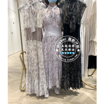 Dress Summer 2021 Gray white purchasing agent does not return or change, purple purchasing agent does not return or change, black purchasing agent does not return or change One hundred and fifty, one hundred and fifty longuette singleton  Long sleeves commute V-neck Elastic waist Solid color Socket
