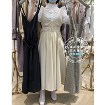 Dress Spring 2021 Gray white, black, Mocha Brown and plaid are not returned or replaced One hundred and fifty, one hundred and fifty Mid length dress singleton  Long sleeves Sweet V-neck middle-waisted Solid color Socket other other Others 25-29 years old Type H SNIDEL SWFO211046 More than 95% other