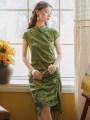 cheongsam Summer 2021 S,M,L Green grass Short sleeve long cheongsam Retro No slits daily Oblique lapel Broken flowers 18-25 years old Piping 51% (inclusive) - 70% (inclusive)