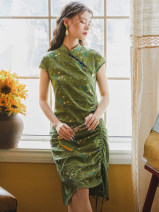 cheongsam Summer 2021 S,M,L Green grass Short sleeve long cheongsam Retro No slits daily Oblique lapel Broken flowers 18-25 years old Piping 51% (inclusive) - 70% (inclusive)