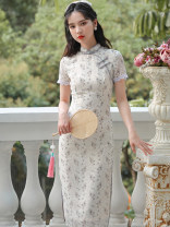 cheongsam Summer 2021 S,M,L Light champagne Short sleeve long cheongsam Retro Low slit daily Oblique lapel Broken flowers 18-25 years old Piping 51% (inclusive) - 70% (inclusive)