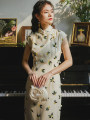 cheongsam Summer 2021 XS,S,M,L Elegant color Sleeveless long cheongsam Retro High slit daily Oblique lapel Decor 18-25 years old Piping 51% (inclusive) - 70% (inclusive)