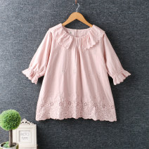 shirt White, apricot, blue, pink Average size cotton 96% and above elbow sleeve Regular Doll Collar Socket routine Solid color