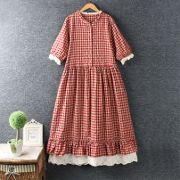 Dress Summer 2020 Coffee, black, red Average size longuette Short sleeve Crew neck Loose waist lattice Socket routine Others More than 95%