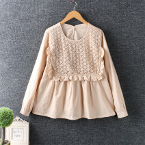 shirt Apricot, khaki, coffee Average size Spring 2021 cotton 96% and above Long sleeves Regular Crew neck Socket routine Solid color