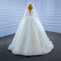 Wedding dress Spring 2021 white Customized [contact customer service] (no return, no change) Sweet Fluffy skirt Bandage Hotel Interior Deep collar V Netting Three dimensional cutting High waist 18-25 years old Pearl Sleeved shawl Realsmile Large size Netting 96% and above