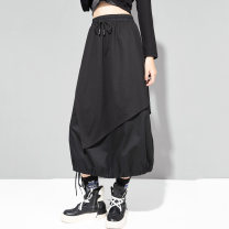 skirt Autumn 2020 M,L,XL black Mid length dress street Natural waist Irregular Solid color Type H 25-29 years old 81% (inclusive) - 90% (inclusive) brocade nylon Asymmetry, splicing Punk