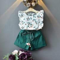suit Other / other Picture color 90cm, 100cm, 110cm, 120cm, 130cm, 5 pieces, 0.65kg, 2-7 years old female summer Korean version Short sleeve + pants 2 pieces Thin money No model Socket nothing Broken flowers Cotton blended fabric children Expression of love Cotton 50% polyester 50%