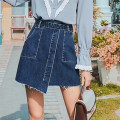 skirt Spring 2021 XS,S,M,L,XL Blue. Color Short skirt street High waist A-line skirt Solid color Type A MZ80127 More than 95% Mg elephant cotton Europe and America