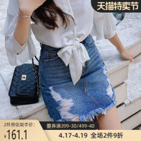 skirt Autumn of 2019 S M L XL Denim blue Short skirt Versatile High waist Denim skirt Solid color Type A 25-29 years old DN1CSK008 81% (inclusive) - 90% (inclusive) Big pink doll cotton hole Cotton 88% regenerated cellulose 11.2% polyester 0.8%
