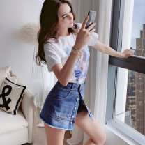 Jeans Summer of 2019 Denim blue S M L XL shorts High waist Straight pants routine 25-29 years old light colour Big pink doll 81% (inclusive) - 90% (inclusive)