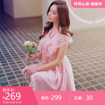 Dress Summer 2021 Pink print S M L XL Middle-skirt singleton  Short sleeve Sweet V-neck middle-waisted Socket Big swing Lotus leaf sleeve 25-29 years old Type X Big pink doll Lace up DO1BDR058 More than 95% polyester fiber Polyester 100% Pure e-commerce (online only)