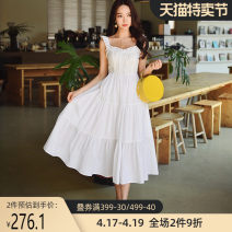 Dress Summer 2020 This is white S M L XL Mid length dress singleton  Sleeveless Sweet square neck High waist zipper Big swing camisole 25-29 years old Type X Big pink doll Lotus leaf edge DT1BDR038 More than 95% cotton Cotton 100% princess