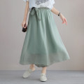 Casual pants Summer 2021 Wide leg pants Natural waist commute Thin 81% (inclusive) - 90% (inclusive) Bronze buckle other Korean version cotton Soft and cool Tencel cotton Green, white, black, lotus root pink, 10 yuan coupon for home page