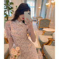 Dress Summer 2020 Foggy rose [in stock] , Wufen rose [the third batch of pre-sale 7] - [10 days] , Syringa oblata [in stock] XS , S , M , L [pre-sale 7 days] Short skirt singleton  Long sleeves commute Crew neck High waist Solid color Socket A-line skirt puff sleeve Type A 21C103 polyester fiber