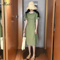Dress Spring of 2019 Green, yellow S,M,L,XL Middle-skirt singleton  Short sleeve commute square neck High waist lattice zipper other Others 18-24 years old Other / other Korean version Splicing 1815#