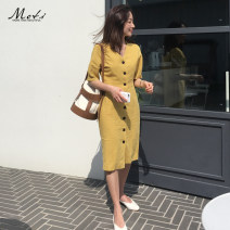 Dress Spring of 2019 yellow S,M,L,XL Miniskirt singleton  Short sleeve commute V-neck High waist Solid color Single breasted other other Others 18-24 years old Other / other Korean version 1805# 31% (inclusive) - 50% (inclusive) other other