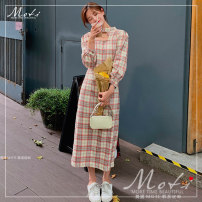 Dress Autumn 2020 lattice S,M,L longuette singleton  Long sleeves commute other High waist lattice zipper other puff sleeve Others 18-24 years old other Retro 81% (inclusive) - 90% (inclusive) other